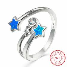 <b>Cute Female Blue</b> Fire Opal Star Ring Minimalist Real 925 Sterling ...