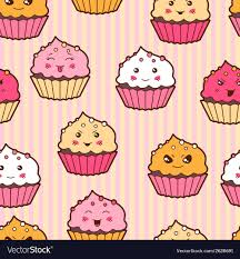 cute cupcakes pictures. Plain Cute Seamless Kawaii Cartoon Pattern With Cute Cupcakes Vector Image Throughout Cute Cupcakes Pictures