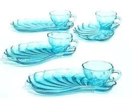glass dish set clear glass dish set plates vintage blue snack sets swirled seashell shape cups