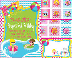 pool party invitation or water party birthday party invite pool party invitation or water party birthday party invite cupcake tags favor tags