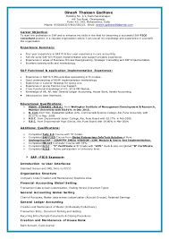 Sap Fico Fresher Resume Sample Best of Sap Fico Resume