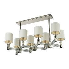 chrome varnished modern white shade 8 light rectangular chandelier for living space interior