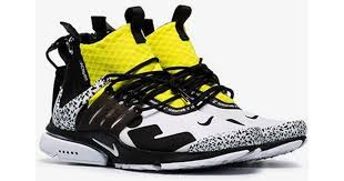 nike black white and yellow x acronym presto leather sneakers in black for men save 22 lyst