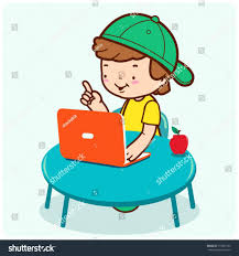 child computer desk childs computer desk chair small child stock vector boy sitting front studying playing