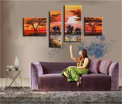 the latest indian scenery home decoration paintings whole abstract landscape wall art oil painting elephants