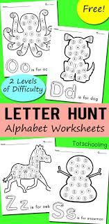 Alphabet Letter Hunt Worksheets   Totschooling - Toddler ...