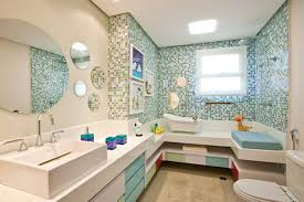 Contemporary Kids Bathroom with Round Frameless Mirror, Signature hardware  sonja overcounter basin, Clawfoot Bathtub