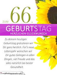 Schlichte Geburtstagskarte Mit Sonnenblumen Zum 66 Geburtstag