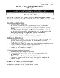 Personnel Management Job Description Fns Assistant Manager Job Description Pasco County Schools