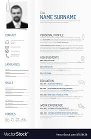 Cv Resume Creative Minimalist Cv Resume Template Royalty Free Vector
