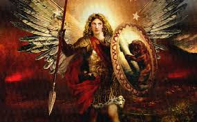 painting of archangel michael battle ready with shield spear the general of the lord s