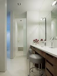 counter height vanity chair. trendy bathroom photo in chicago with an integrated sink, flat-panel cabinets and dark counter height vanity chair o