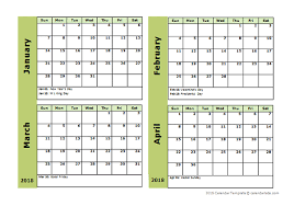 month template 2018 2018 four month calendar template free printable templates
