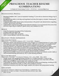 Preschool Teacher Resume How To Write Resume For Teacher Job Format Sample Professional