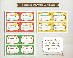 achievement awards for elementary students printable teacher certificate achievment awards for class school