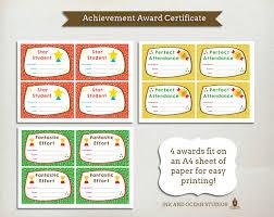 achievement awards for elementary students printable teacher certificate achievment awards for class school