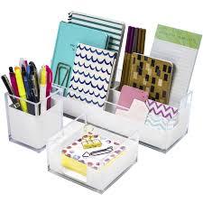 sorbus acrylic desk organizers set 3 piece includes desk organizer caddy memo