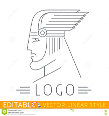 Greek Templates Man In Winged Helmet Head Of Greek Or Viking God Logo Template