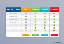 Pricing Template For Services Comparison Pricing Table List Vector Comparing Price Banner