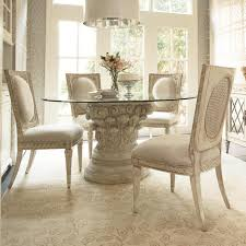 Glass Dining Room Tables Round Round Idyllic Glass Round Dining Table With Hardwood Carved Base