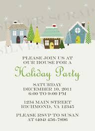 Neighborhood Party Invitation Wording Holiday Houses Landscape Custom Christmas Party Invitation Winter