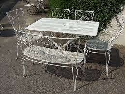 white metal furniture. Wrought Iron Outdoor Dining Table \u2013 Lovely White Metal Furniture Round Patio