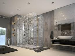 Contemporary Shower Delighful Modern Shower Glass Tile Surround With Design Decorating
