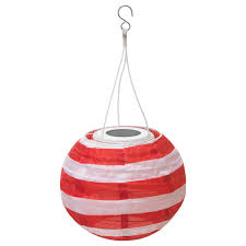 Solvinden Led Solar Powered Pendant Lamp Outdoor Globe Stripe Red
