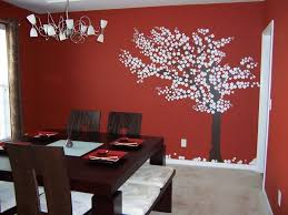 stylish inspiration ideas red wall decor modern decoration design interior dining room displaying with color tree