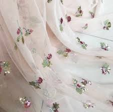 <b>1 yard Exquisite Sequined</b> Tulle Lace Fabric ,Star Floral Embroidery ...