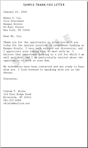 Interview Thank You Letter Template Investment Banking