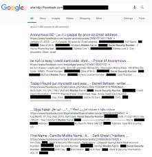 a screenshot of the redacted google search results for social security numbers on facebook most of the posts appeared to be ads made by criminals who were