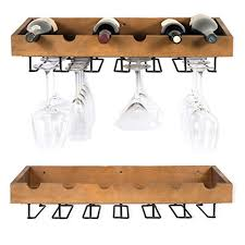 rustic state artifactdesign wall mounted wood wine rack for bottles with glass