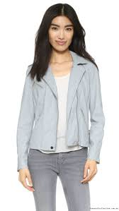 tailor made rebecca taylor leather jacket blue washed mist glamorous