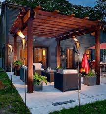 view in gallery snazzy pergola has a meval charm thanks to the fiery additions