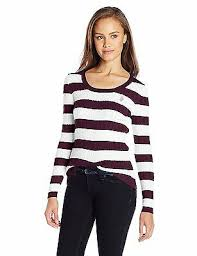 U S Polo Assn Juniors Striped Cable Knit Scoop Neck