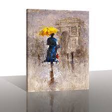 yellow umbrella wall art