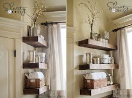 floating wood shelves for bathroom storage