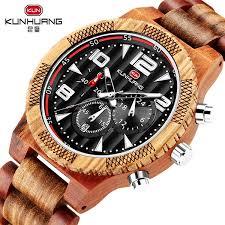 Multifunction Men Wood Watch Wooden Zebra <b>Red Sandalwood</b> ...