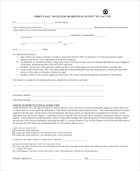 30 day eviction notice forms 30 day notice 9 free word pdf documents download free
