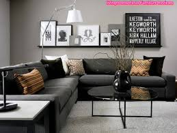 Black Living Room Furniture Dark Gray Corner Sofa