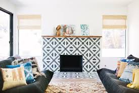 mesmerizing living room and fireplace design featuring symmetric glass mosaic fireplace surround
