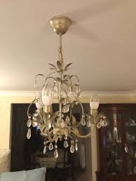 laura ashley 3 arm with glass droplets chandelier