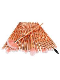 trendy professional 20pcs zircon pattern fiber hair makeup brush set