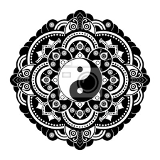 Fototapeta černé A Bílé Vektorové Henna Tetování Mandala Yin Yang Dekorativní