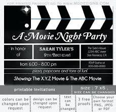 Movie Night Invitation Templates Clap Board Printable Movie Clapboard Movie Night Birthday Party