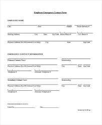 Employee Emergency Contact Information Template Free 26 Emergency Contact Forms Pdf