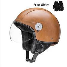 brown new synthetic leather motorcycle helmet retro vintage cruiser chopper scooter cafe racer moto helmet 3 4 open face helmet