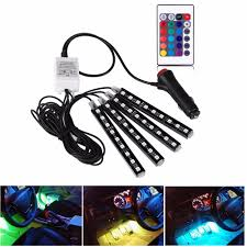 <b>4Pcs 12V Car</b> RGB LED DRL Strip <b>Light</b> 5050SMD <b>Car Auto</b> ...