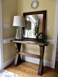 diy tutorial for building an x entryway table